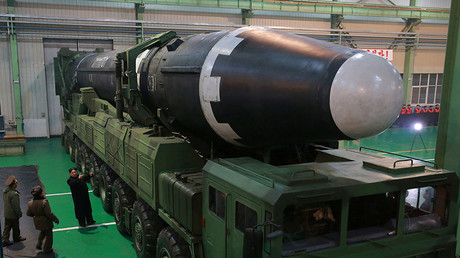 The newly developed intercontinental ballistic rocket Hwasong-15. © KCNA