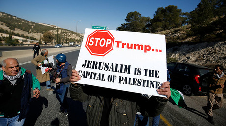 A protest against a promise by U.S. President-elect Donald Trump to re-locate U.S. embassy to Jerusalem, in the West Bank near Jewish settlement of Maale Adumim, January 20, 2017. © Mohamad Torokman