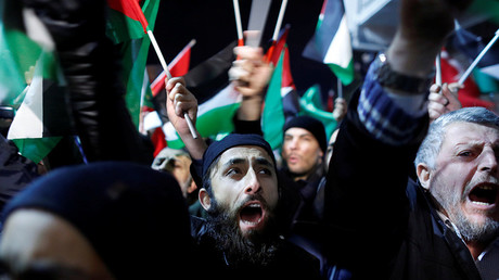 Demonstrators shout slogans during a protest against the U.S. intention to move its embassy to Jerusalem and to recognize the city of Jerusalem as the capital of Israel, near the U.S. Consulate in Istanbul, Turkey, December 6, 2017 Osman Orsal