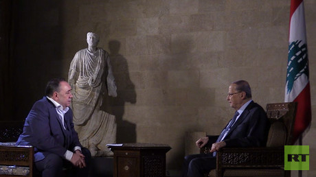Lebanese President Aoun talks political crisis & war with Israel on Alex Salmond Show