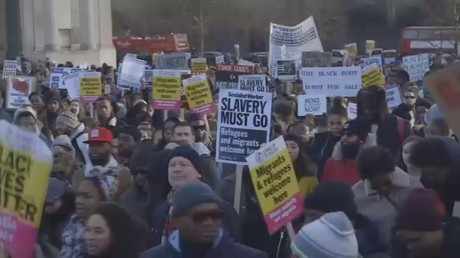 Activists march in London against Libya's slave trade