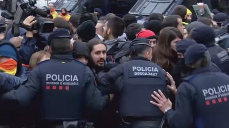 Scuffles break out as authorities remove artwork from Catalan museum