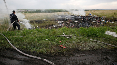 FILE PHOTO: An Emergencies Ministry member works to put out a fire at the site of a Malaysia Airlines Boeing 777 plane crash in the settlement of Grabovo in the Donetsk region, July 17, 2014 © Maxim Zmeyev