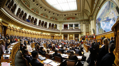 FILE PHOTO A general view shows a session at the Swiss parliament in Bern, Switzerland © Denis Balibouse
