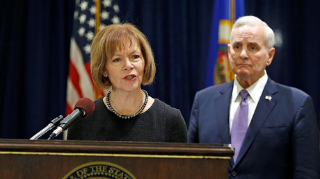 Minnesota Lieutenant Governor Tina Smith answers a question after Governor Mark Dayton (R) announced she would replace US Senator Al Franken, December 13, 2017 © Eric Miller