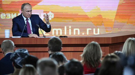 Russian President Vladimir Putin speaks during his annual press conference in Moscow on December 14, 2017 © Alexander NEMENOV