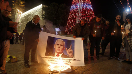 Palestinians burn Pence photos ahead of VP's visit to region