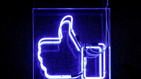 A Facebook like button is pictured at the Facebook's France headquarters in Paris © Benoit Tessier