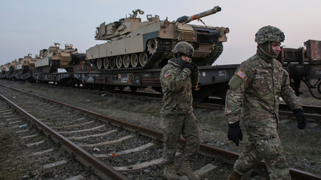 US tanks arrive at an air base in Romania
