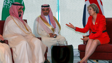 FILE PHOTO Britain's Prime Minister Theresa May and Saudi Arabia's Deputy Crown Prince Mohammed bin Salman (L) meet ahead of G20 Summit in Hangzhou, Zhejiang province, China, September 4, 2016 © Narendra Shresta