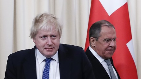 British Foreign Secretary Boris Johnson and Russian Foreign Minister Sergei Lavrov.