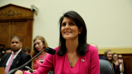U.S. Ambassador to the United Nations Nikki Haley arrives to testify to the House Foreign Affairs Committee on