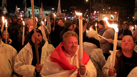 Supporters of Hungary's main opposition Jobbik party attend a torchlight demonstration in Budapest © Bernadett Szabo