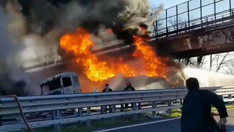 Motorway inferno which killed entire family caught on video