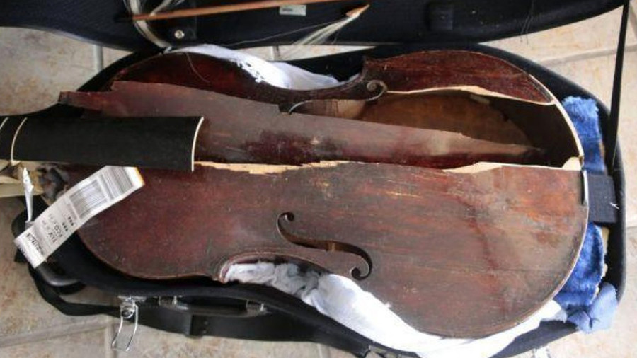 400yo viola left looking like 'car ran over it' following Alitalia flight (PHOTOS)