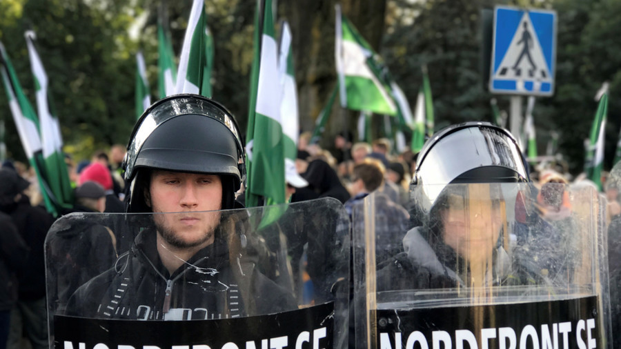 Clashes, arrests as police break up 'unauthorized' neo-Nazi protest in Sweden