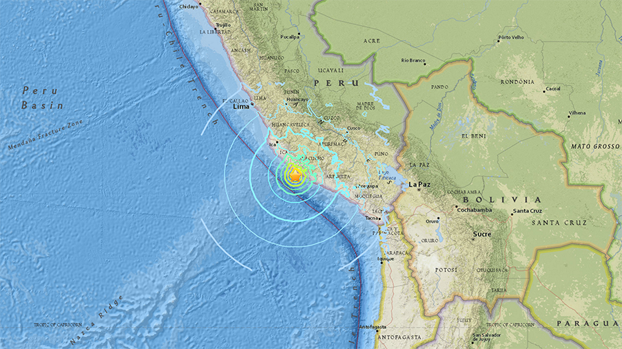 Magnitude 7.3 natural disaster  hits near coast of Peru, triggering tsunami threat