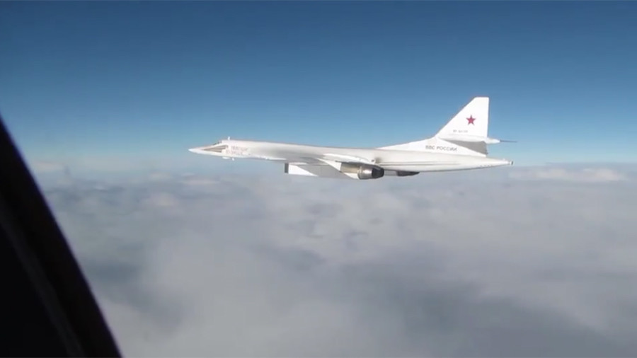 Dramatic moment RAF fighter jets intercept Russian bombers over North Sea (VIDEO)