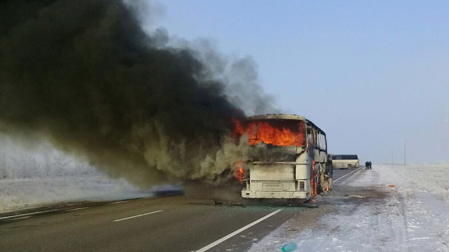Kazakhstan: 52 killed after bus catches fire in Aktau region