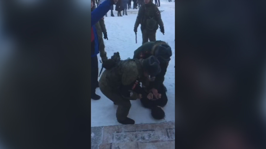 Video shows police arresting teen behind ax & arson havoc in Russian school