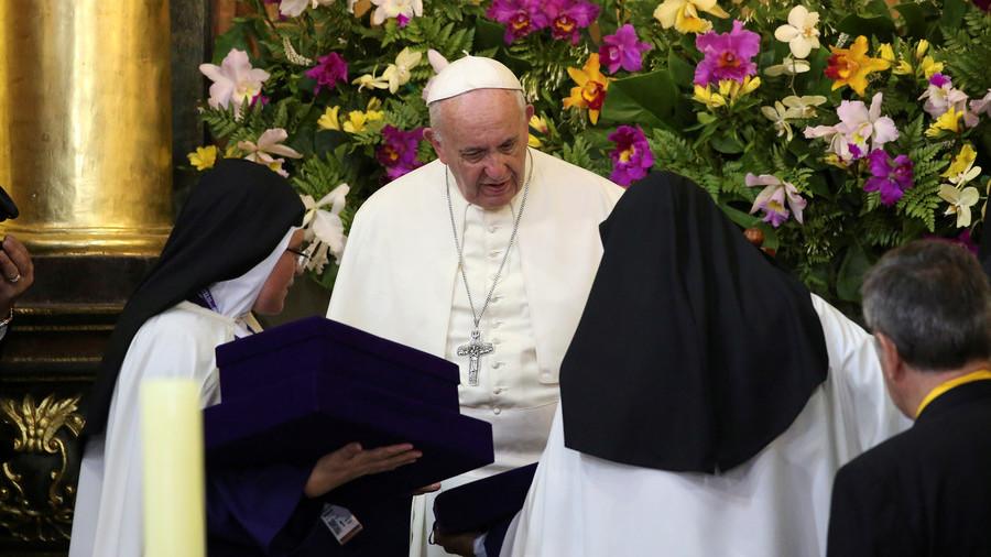 Pope Francis jokingly calls gossiping nuns 'terrorists'