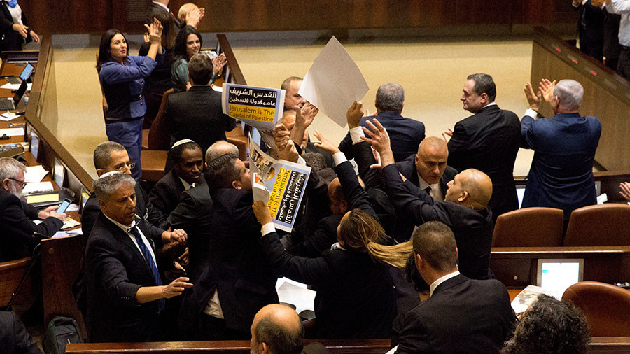 Brawl between Arab MPs & security staff interrupts Pence's speech in Israeli parliament (VIDEO)