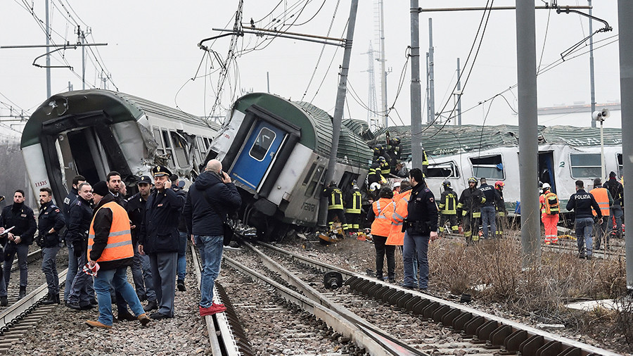 Train derails near Milan, at least 3 reported dead & scores injured