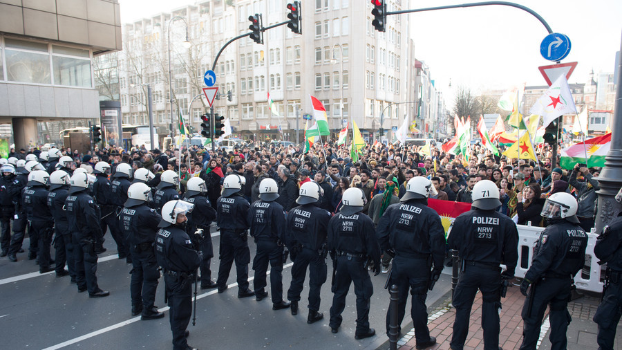 Clashes as German police break up massive Kurdish demo in ...