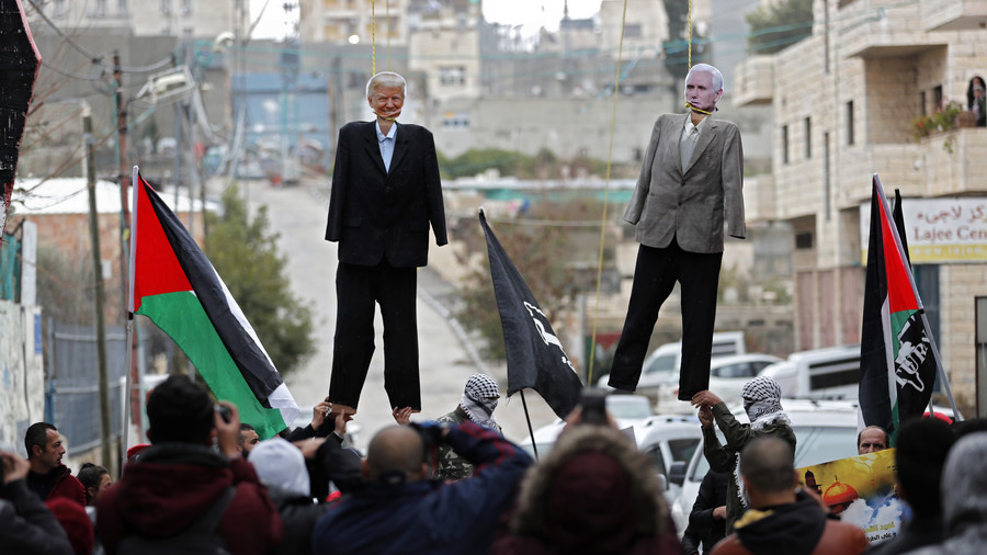 Trump & Pence effigies burned in Palestinian mock execution (PHOTOS, VIDEO)