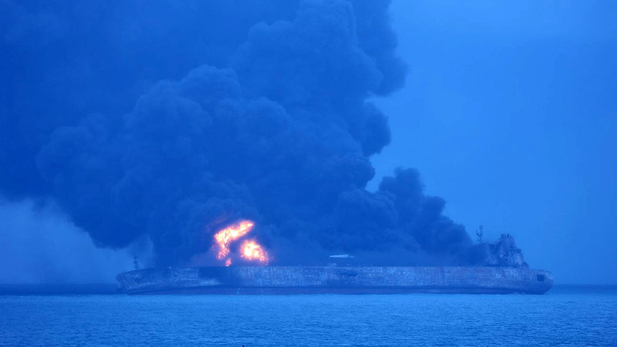 Body found on burning Iranian oil tanker off Chinese coast