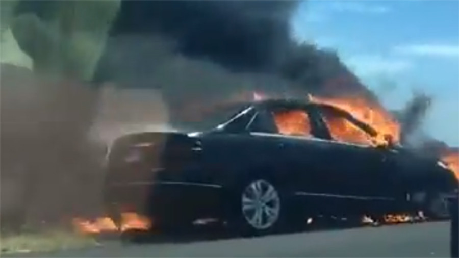 This burning car ignited fire which destroyed 350ha of land (PHOTOS, VIDEOS)