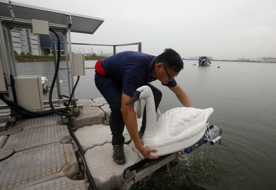 Reservoir 'swans': Aquatic robots deployed to combat water pollution (PHOTOS)