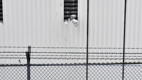Damaged facade of a building of the Ploetzensee prison in Berlin, December 28, 2017 © John MACDOUGALL