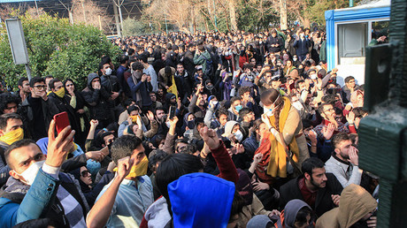 Iranian students protest at the University of Tehran on December 30, 2017. © AFP