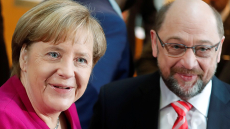 Leader of the Christian Democratic Union (CDU) and the acting German Chancellor Angela Merkel and Social Democratic Party (SPD) leader Martin Schulz ©  Hannibal Hanschke