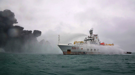 Operation to extinguish oil tanker fire off China's eastern coast