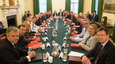 Theresa May 'invisible' in first photograph of new 'white, male' cabinet