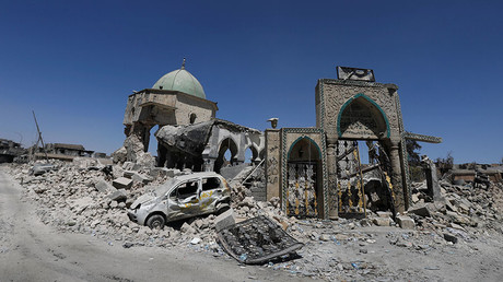 The destroyed Grand al-Nuri Mosque is seen in the Old City of Mosul, Iraq August 7, 2017. © Suhaib Salem