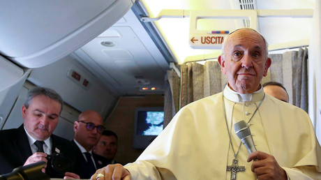 Pope Francis joins flight attendants in mile high matrimony