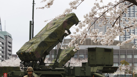 FILE PHOTO Patriot Advanced Capability-3 (PAC-3) land-to-air missiles are deployed, with cherry blossoms in full bloom, at the Defense Ministry in Tokyo April 7, 2012. © Issei Kato