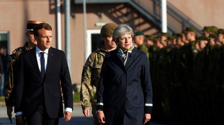 Macron and May prepare to negotiate at Sandhurst © Reuters/ Ints Kalnins