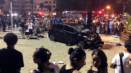 Car plows into crowd in Rio de Janeiro, Brazil, injuring at least 15