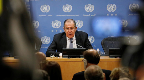 Russian Foreign Minister Sergey Lavrov speaks during a news conference at the United Nations in New York, U.S., January 19, 2018. © Shannon Stapleton