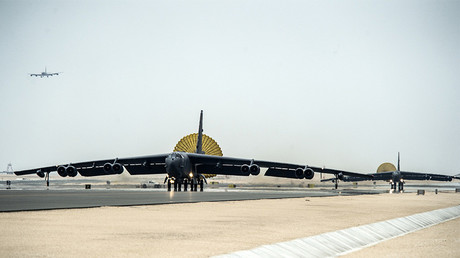 FILE PHOTO: U.S. Air Force B-52 Stratofortress aircraft from Barksdale Air Force Base, Louisiana, arrive at Al Udeid Air Base, Qatar © U.S. Air Force