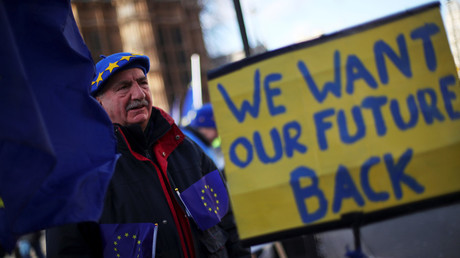 An anti-Brexit protester demonstrates opposite the Houses of Parliament in London © Hannah Mckay