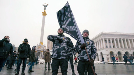 Black-clad nationalist squad blocks Ukrainian city council to 'help' MPs adopt budget (PHOTO)