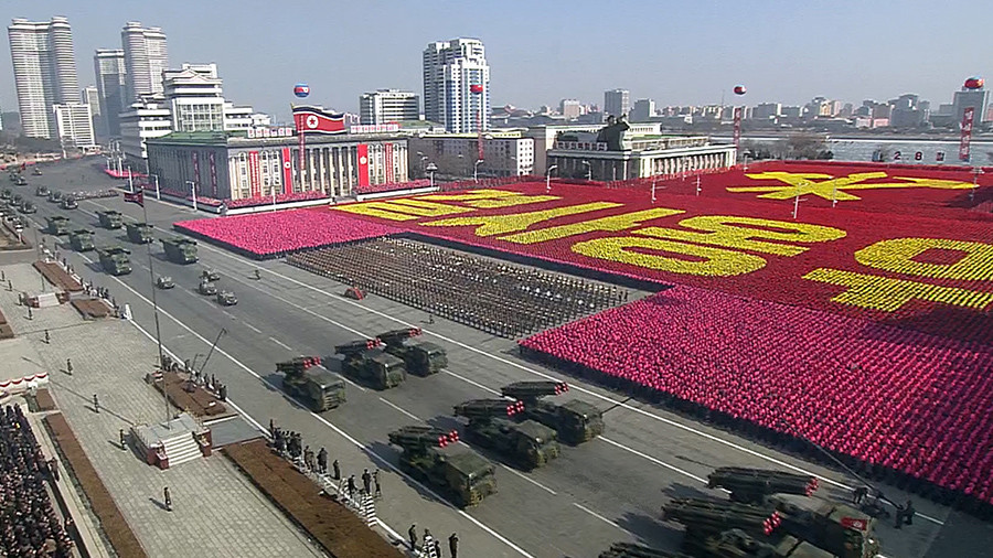 Female sword dancers & missiles: N. Korea holds mass parade on eve of Olympics (VIDEOS)
