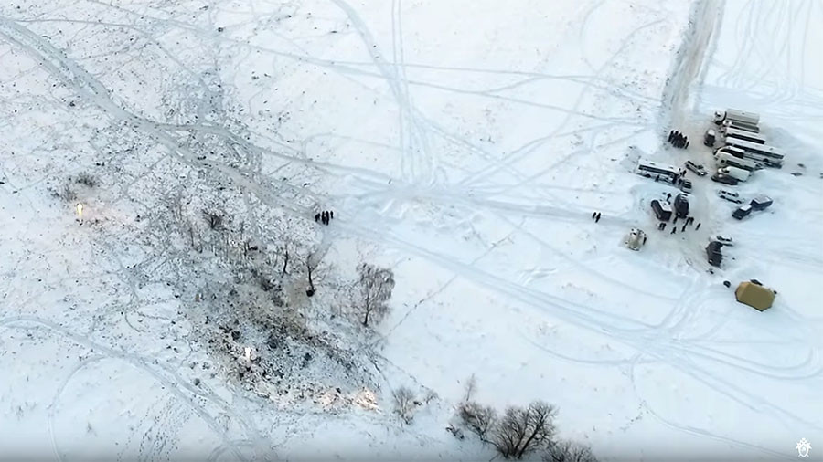 New drone footage of plane crash site in Moscow region (VIDEO)