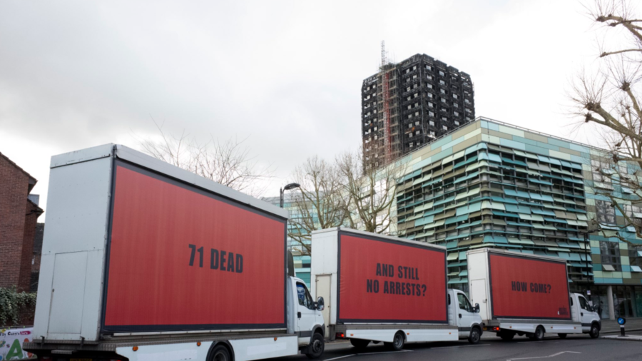 Campaigners Park Three Striking Billboards Outside Grenfell Tower