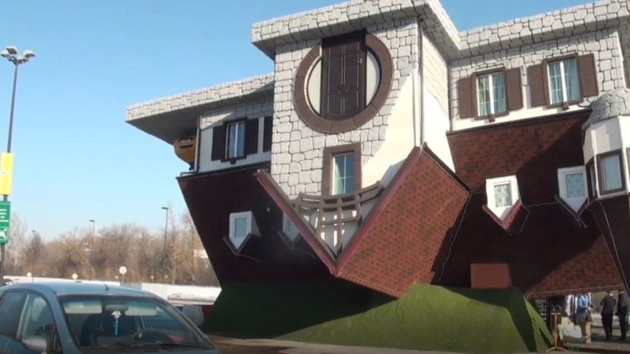 Artist turns housing market upside down with peculiar inverted abode (VIDEO)